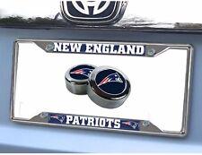 NFL New England Patriots Car Truck Chrome Metal License Plate Frame & Screw Caps