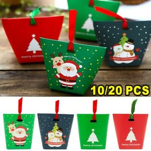 2021 Christmas Party Bags Boxes Sweets Carrier Favour Candy Xmas Gift Boxes UK
