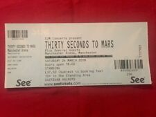 30 Seconds to Mars Used Concert Ticket Complete with Stub for Manchester Arena