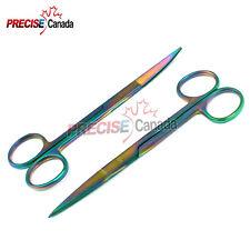"""Set of 2 Supercut TITANIUM RAINBOW COLOR Iris Scissors 4.5"""" Straight + Curved"""