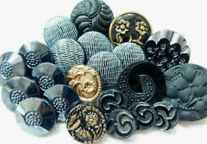 Vintage black glass button lot~Patterns~lusters~hand paint~H8