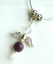 Charoite Crystal Guardian Angel Pendant on Silver Cord - Higher Energy