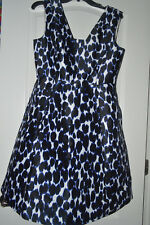 NEW Kate Spade Dress Be Daring Leopard Fit Flare 6 $398 Black White Blue Lined