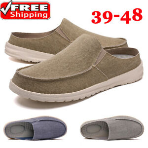 Mens Comfort Backless Loafers Slip On Shoes Canvas Casual Sports Moccasins Pumps