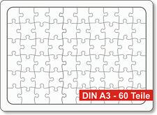 Rahmen-Blanko-Puzzle, Blankopuzzle, fast DIN A3, 39 x 28,5 cm, 60 Teile, 3er Set