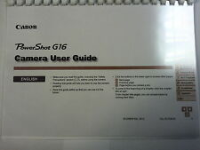 CANON POWERSHOT G16 PRINTED INSTRUCTION MANUAL USER GUIDE 212 PAGES