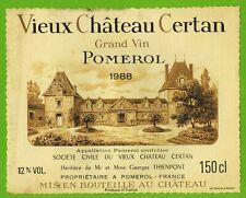 Ancienne Etiquette de vin-Bordeaux-Pomerol(1988)-Vieux Château Certan-N°450