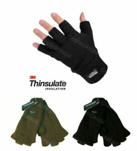 Mens Ladies THERMAL 3M THINSULATE FINGERLESS MITTS GLOVES Knitted Wooly Hunting