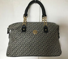 NEW! TOMMY HILFIGER BLACK NATURAL BOWLER GOLD CHAIN SATCHEL TOTE BAG $85 SALE