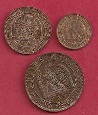 NAPOLEON III SUPERBE LOT 5 CENTIMES 1863 A PARIS 1 ET 2 CENTIMES 1861 K BORDEAUX