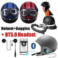 Open Face Half Helmet w/ UV Goggles & Bluetooth Headset Speaker for Motorcycle