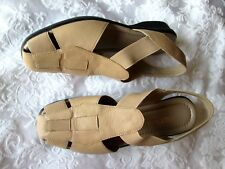 WHAT'S WHAT by AEROSOLES 7M Beige Leather Elastic Inserts Slingback SANDALS NEW