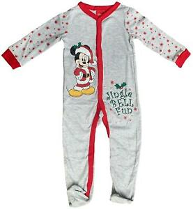 BABY SLEEPSUIT CHRISTMAS MICKEY MOUSE BABYGROW ALL IN ONE EX STORE NB-18M NEW