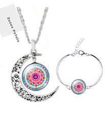 Kaleidescope Mod Jewelry set earrings necklace bracelet