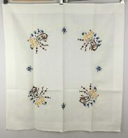 VINTAGE Hand Embroidered Tablecloth Tea Jobelan West Germany Baumwolle Cotton