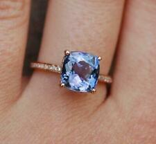 2.50 Ctw Cushion Cut Tanzanite  14k Rose Gold Over Wedding Engagement Ring