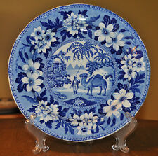 Antique Historical Blue Transferware Staffordshire Camel Plate Riley's Dromedary