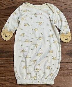 Disney Classic Winnie The Pooh Layette Gown Sleep Sack Size 0-6m Unisex Mittens