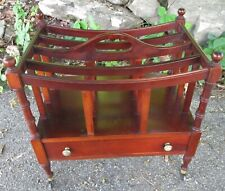 New listing Vintage Solid Mahogany Canterbury Magazine Rack Stand w/ Casters + Drawer