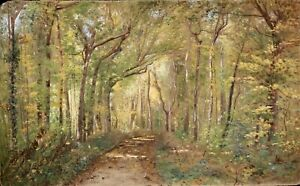 ALPHONSE MORLOT (1838-1916) LARGE SIGNED & DATED 1895 FRENCH OIL - FOREST SPRING