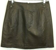 FREE PEOPLE Leather-Look Mini Skirt Sz 6 Brown Back Zip Buttons Lined NEW #1301