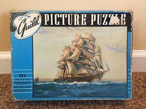 "Vintage WHITMAN GUILD PICTURE PUZZLE ""Full Sail"" No 2900 304 Pieces Complete A58"