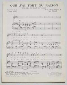 Partition vintage sheet music JOHNNY HALLYDAY : Que J'ai Tort ou Raison * 70's