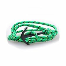 New VIKINGS Green/Yellow/Black Wrap Around Rope Bracelet Black Alloy Anchor