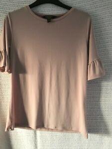 BNWOT Lipsy Dusty Pink Ruffle sleeve T-Shirt Size 12