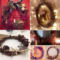 Christmas Natural Dried Rattan Wreath Xmas Garland Door Wall Decor 1Pcs  JT