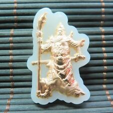 CERTIFIED 24K Gold GRADE A Hetian Jade the Hero Guan Yu Pendant (Nephrite) 30mm