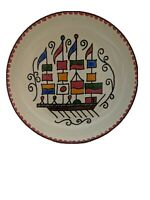 Vintage Greek Moissiadis Folk Art Enamel Trinket Dish Mini Bowl Plate Boat Flags