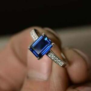 3Ct Emerald Cut Blue Sapphire Diamond Womens Engagement Ring 14K White Gold Over
