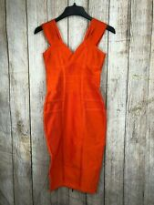 Herve Leger Bodycon Bandage Cocktail Dress Orange Back Zipper A576  *M