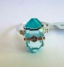 Lehrer Cosmic Obelisk Sky Blue Topaz&Turquoise&Diamond 9K White Gold Ring Size 9