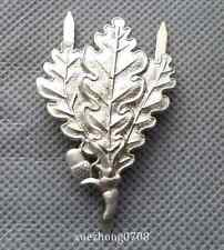 WW2 military GERMAN ARMY SNIPER OAK LEAF METAL CAP BADGE