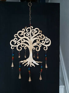 DECORATIVE IRON HANGING TREE WITH CHAKRAS & BELLS FROM INDIA