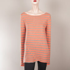 TSE SAY Damen Pullover XL 40 42 Koralle Grau Gestreift Kaschmir Oberteil Casual