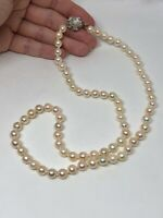 Akoya Saltwater Pearl Necklace Sterling Silver Vintage 23.50in 7-7.5mm Floral