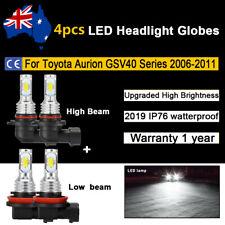 4x Headlight Globes For Toyota Aurion GSV40 2008 2009 2010 High LowBeam LED Bulb