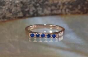 0.35 Ct Round Sapphire Engagement Wedding Ring 14K Real Rose Gold Size 7 8