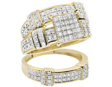 Ladies 10K Yellow Gold Real Diamond Trio Engagement Wedding Ring Set 0.51ct