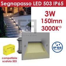 SEGNAPASSO LED SCATOLA 503 PER ESTERNO 3W BIANCO LUCE CALDA 3000K IP65