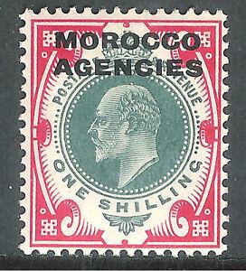 Morocco Agencies 1907 dull-green/carmine 1/- mint SG37