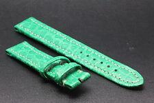Bracelet/Band Crocodile 15/14mm Vert pour montre boucle ardillon BREITLING