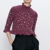 NWT ZARA Pearls ALPACA Wool Blend Plum Sweater PURPLE Ruffled 3/4 Sleeve Sz S