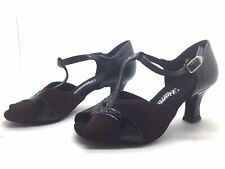 Chaussure de danse de salon pour femme:diamant couleur: noir et bordeaux