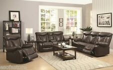 Coaster Zimmerman Leatherette Motion Reclining 2pc Sofa Set in Dark Brown Couch