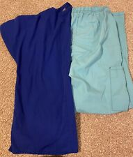Blue Scrub Set Top And Bottoms Womens Size Small