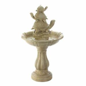 Water Fountain - Turtle Trio Stone-Look Garden Fountain